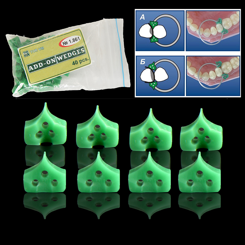 40pcs/bag Dental Silicone Wedges Add On Wedges Rubber TOR VM No 1.861 Delta Ring Tine Dentistry Lab Material Dentist Tools
