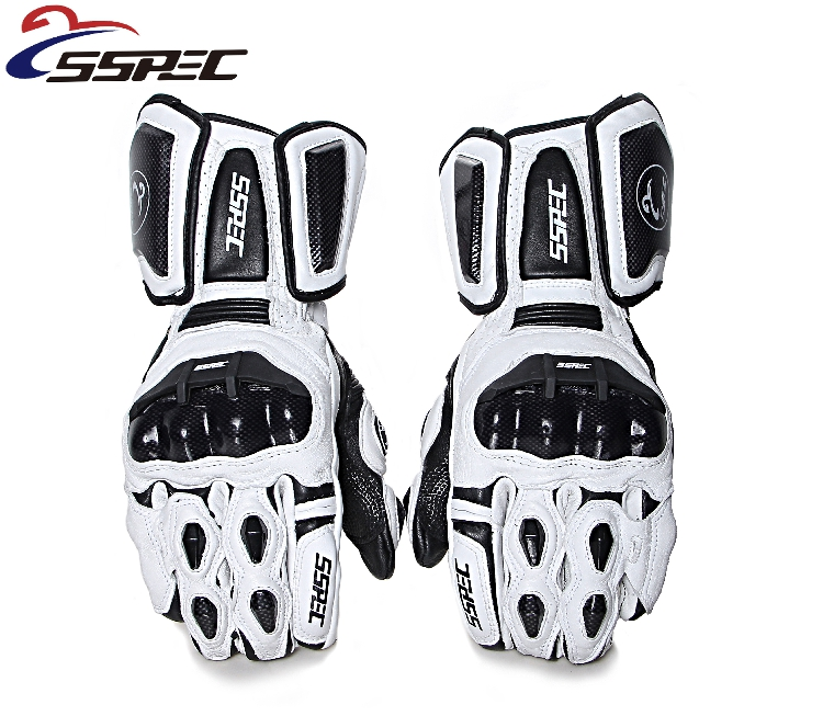 Carbon Fiber Genuine Leather Motorcycle Gloves Full finger Motocross glove Winter Warm Motorbike glove Moto Guantes genuine honda 66401 sb3 680zc glove box