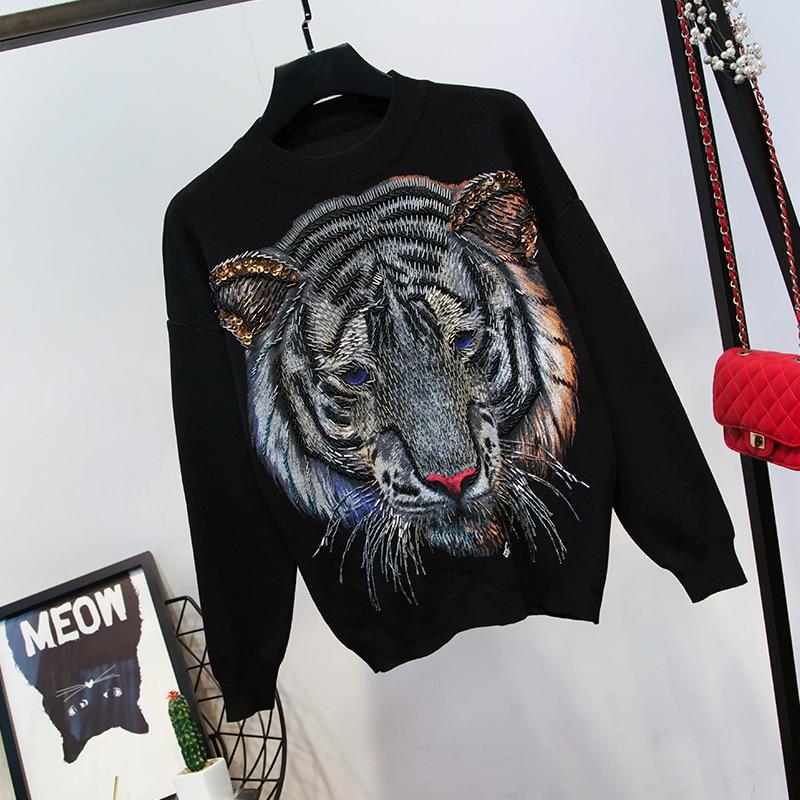 Hiver De Femelle Costume Tricoté Tigre Mode Paillettes Automne 2018 Décontracté Femmes gris Manches Nouvelle Noir Pantalon Longues Chandail qtOZcwcX