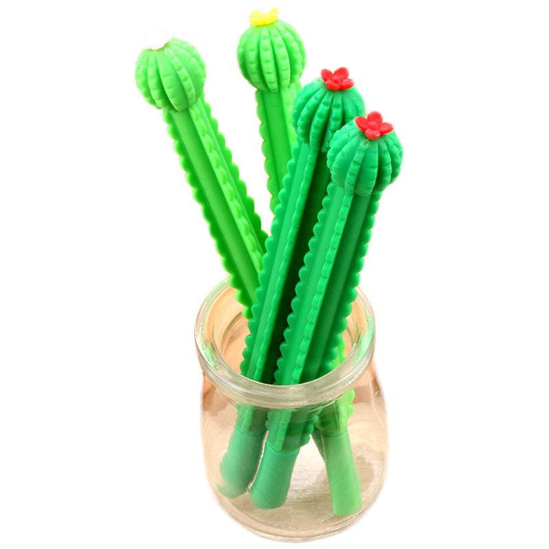 4PCS/Lot 0.5mm Black Signing Pens Cute Cactus Gel Pen Kawaii Korean Stationery Creative Children Gift School Supplies Random