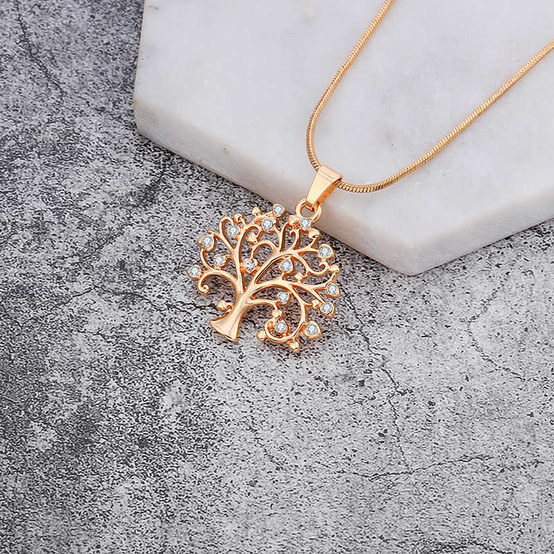 Gold Tree Of Life Necklace for Women Silver Short Choker Small Crystal Tree Pendant Necklace Fashion Jewelry Party Gift Dropship