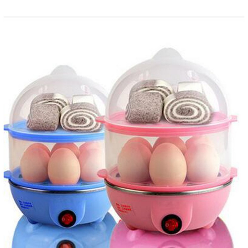 Multifunctional Double Layers Electric Smart Egg Boiler Cooker Household Kitchen Cooking Tool Utensil Egg Steamer Poacher
