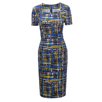 FEIBUSHI Elegant Women Summer Charming Print Square Neck Plaid Dress Work Business Casual Bodycon Pencil Sheath Dress 1