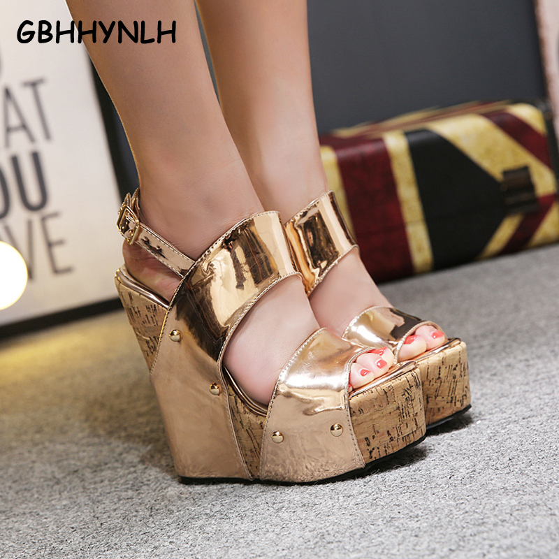 GBHHYNLH women Gladiator Sandals woman Platform Wedges Summer Creepers Casual Buckle Shoes ladies Sexy Fashion High Heels LJA321 akexiya 2017 suede gladiator sandals platform wedges summer creepers casual buckle shoes woman sexy fashion high heels