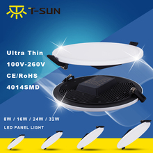 Ultra Thin LED Panel Downlight 8W 16W 24W 32W Round/Square LED Ceiling Recessed Lights Power Supply Included SMD4014