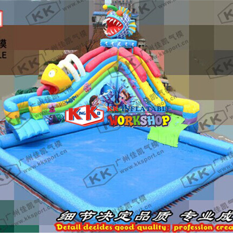 Customization of theme Water Park inflatable swimming pool with slideCustomization of theme Water Park inflatable swimming pool with slide