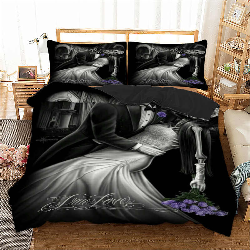 Wongs bedding wedding skull duvet cover Bedding set black color quilt Cover Bed Set 3pcs 2018