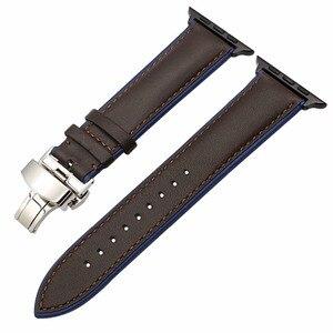 Image 2 - Frankreich Echtem Leder Armband für iWatch Apple Uhr SE 6 54 3 2 1 38mm 40mm 42mm 44mm Dual Farbe Band Schmetterling Spange Band