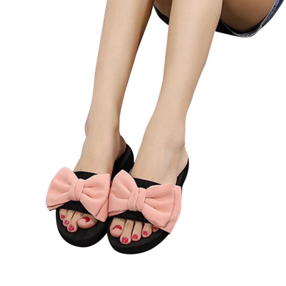 f3ea57b76 Женские шлёпанцы с бантом шлепанцы Летняя Пляжная обувь женские домашние  уличные тапочки на низком каблуке сланцы женские богемные сандал.