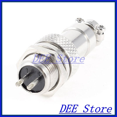 Metal GX12-2 2Pin Male 12mm Screw Type Cable Panel Connector Aviation Plug