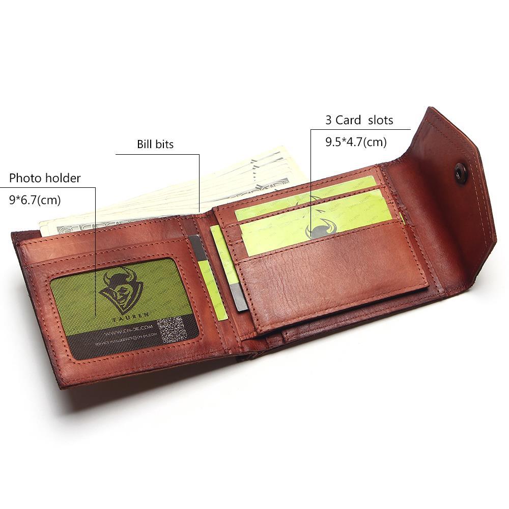 Image 4 - Винтажный Мужской кошелек TAUREN, из 100% натуральной кожи, с  застежкой, в ретро стиле, короткий, тусклый, красный, меняющий Цвет  Кошелек для монетwallet shortwallet menhasp wallet