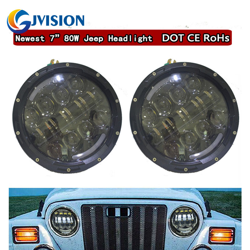 7'' 80W Round Motorcycle led headlight With Angel eyes DRL Amber turn signal lights for Jeep Wrangler JK CJ LJ Harley Davidson 1 pair 60w 7 inch round led headlight with white amber turn signal drl for jeep wrangler jk tj harley davidson