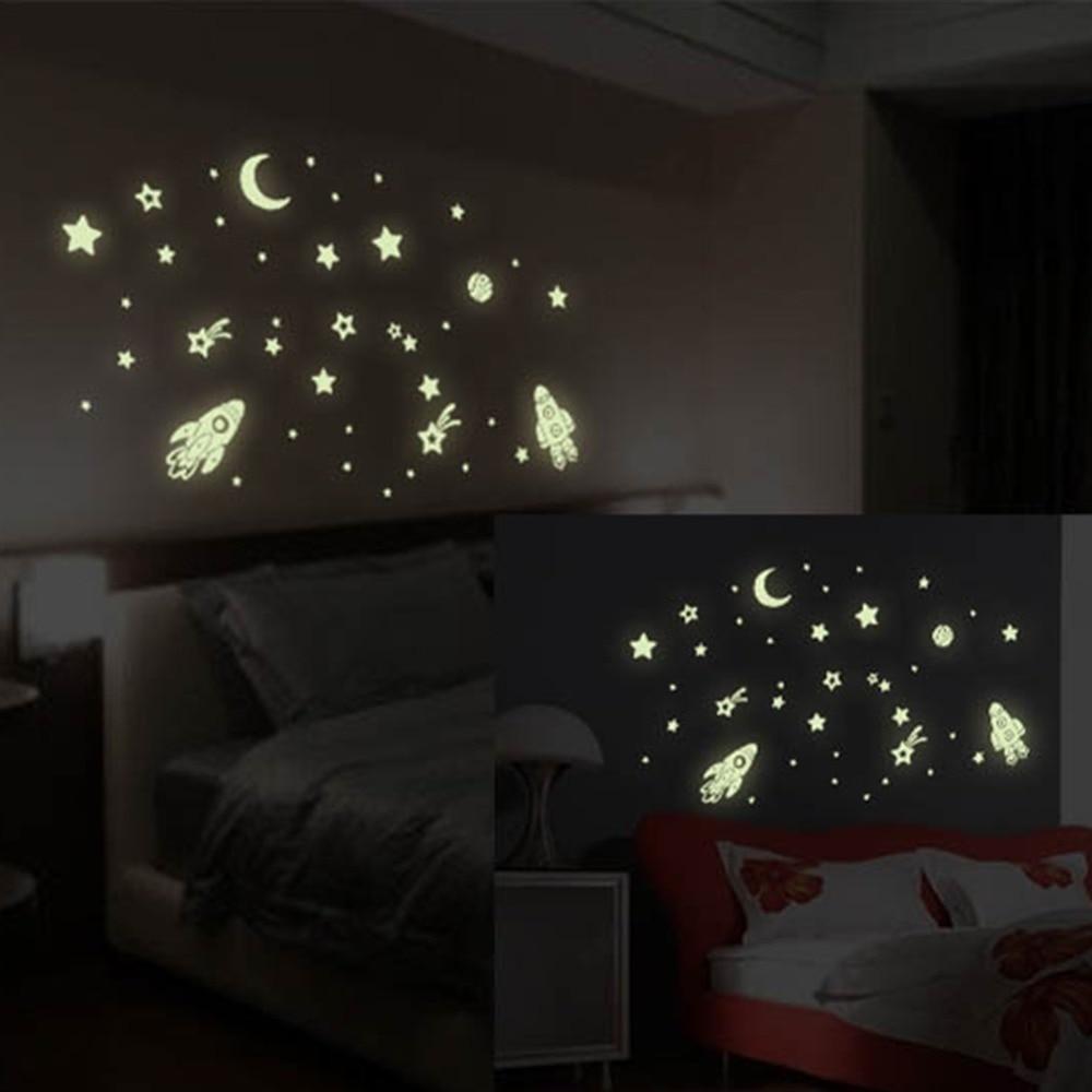 Aliexpress.com : Buy Glow In The Dark Luminous Wall Sticker Cosmic Star Spaceship Cartoon DIY