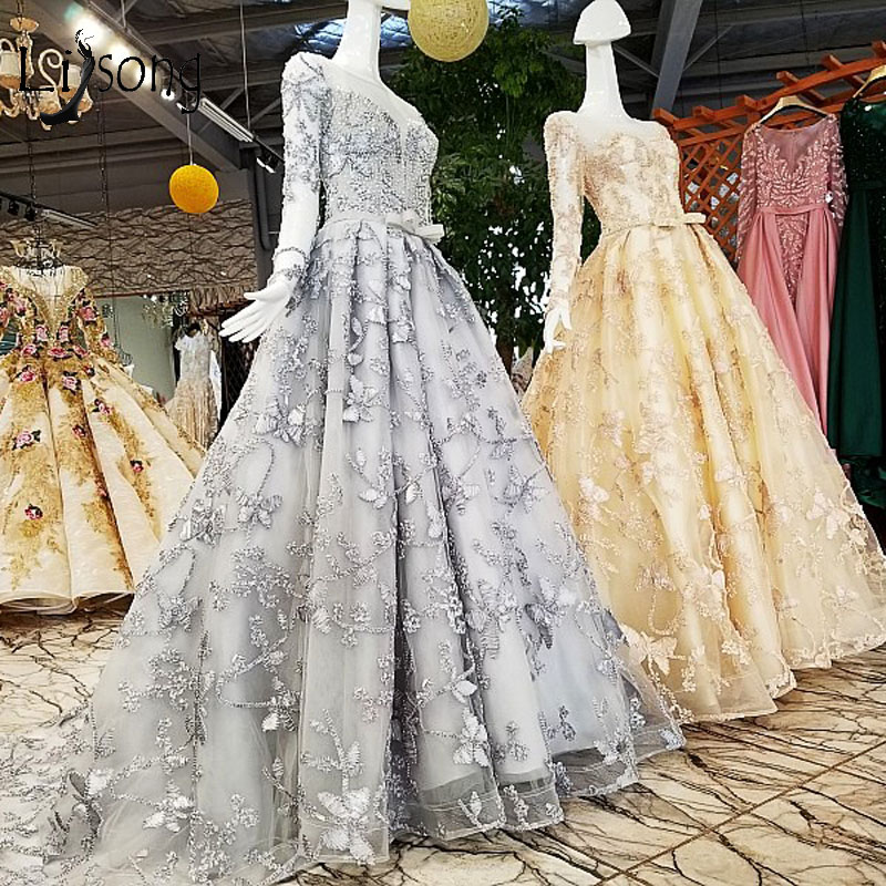 Elegant Abiye Light Gray Lace   Prom     Dresses   With Full Sleeves Beaded Long   Prom   Gowns Sash Bow Custom Made Formal Party   Dress   2018