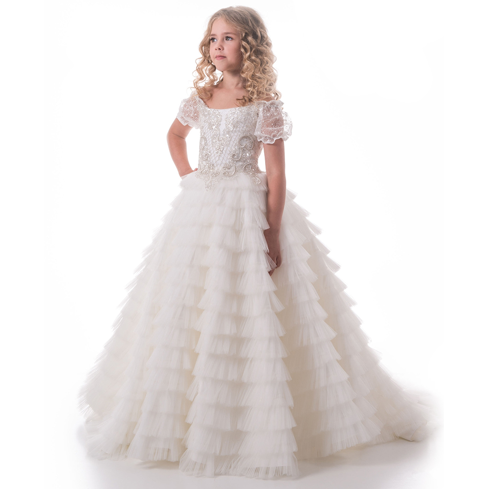 New Arrival Ivory Off Shoulder Flower Girls Dresses Beaded Lace Ball Gowns First Communion Dresses Princess Pageant Gown