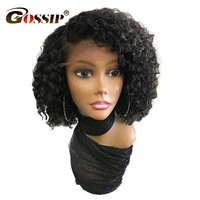 150 Density Brazilian Remy Hair Water Wave Lace Front Wigs 6 Deep Parted Lace Gossip Short Human Hair Bob Wigs For Black Women