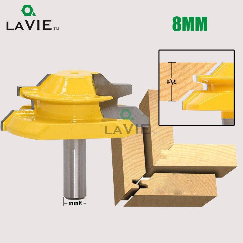 LA VIE 1PC 8mm Shank 45 Degree Mortise Tenon Knife Medium Lock Miter Router Bit 3/4 Stock Woodworking Carbide End Mill MC02005 1pc 8mm shank high quality 45 degree chamfer