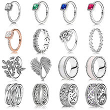 16 Style New Silver Rings Classic Leaves Drop Oil Hollow Wide Crystal Round Finger Ring For Women Jewelry(China)