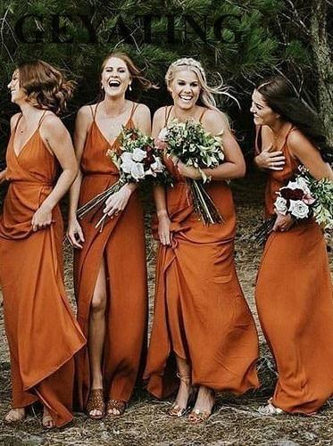 Boho Orange Chiffon Long   Bridesmaid     Dress   2019 Sexy Spaghetti Straps A-Line V-Neck Side Slit Country Wedding Party   Dresses   Cheap