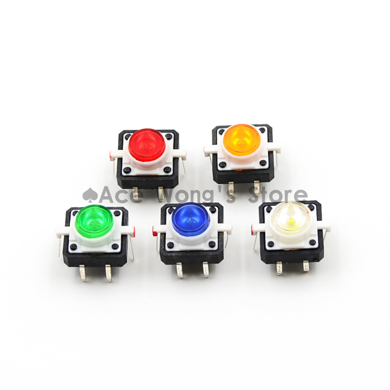 (20 pcs/lot) Tactile Push Button Switch Momentary Tact 12X12X7.0mm With LED lights (Red, yellow, blue, green, white) Each 4pcs