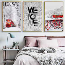 Simple Modern Nordic Snowy Forest Train Decorative Painting Posters Wall Pictures for Living Room AJ00205