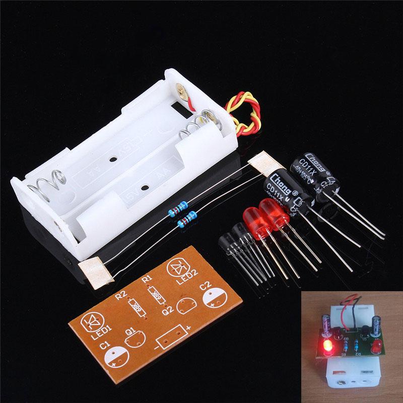 DIY Electronic Kit Flash Elektronik Devreler Multivibrator LED Flashing Circuit Suite Teaching Training IC Parts