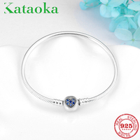 Eternal love Women Bracelets 925 Sterling Silver Heart pave blue Zircon Flexible Bangles snake bone chain fashion Jewelry