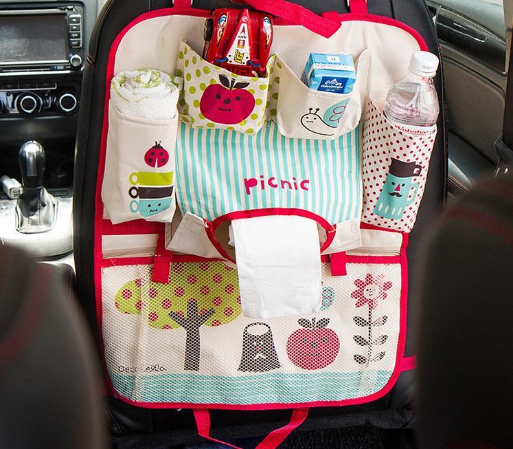 Multi-Pocket Back Seat uzglabāšanas soma Ratiņi Car Seat Organizators turētājs Auto Styling Cup Pārtikas Tālrunis Storage Māmiņa autiņbiksīšu soma
