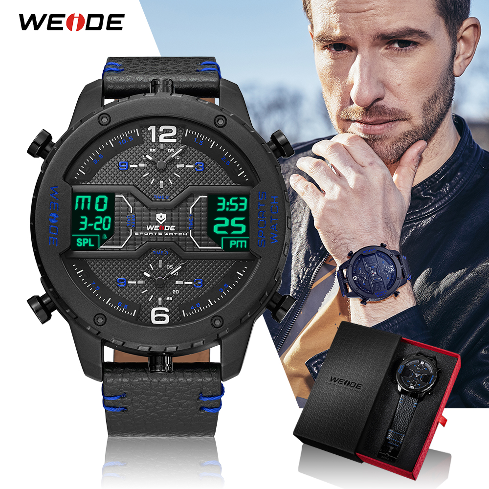 weide sport watches men luxury black leather strap quartz dual time zone analog date men military male clock oversize wristwatch WEIDE Men Sport Brand Three Time Zone Leather Strap Calendar Auto Date quartz Water Resistant Wristwatch Relogio Masculino Clock
