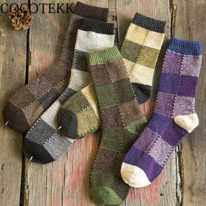 Fashion Cool Brand Wool Cotton Socks Men Trend Hip Hop Harajuku Long Casual Vintage Business Socks Men For Dress Wedding Socks