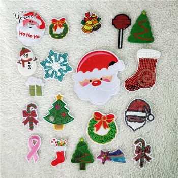 Christmas Theme style Mixture Patch Iron for Clothing Cute Sequins Badges Fabric Sew Applique DIY kids love Stickers Accessories image