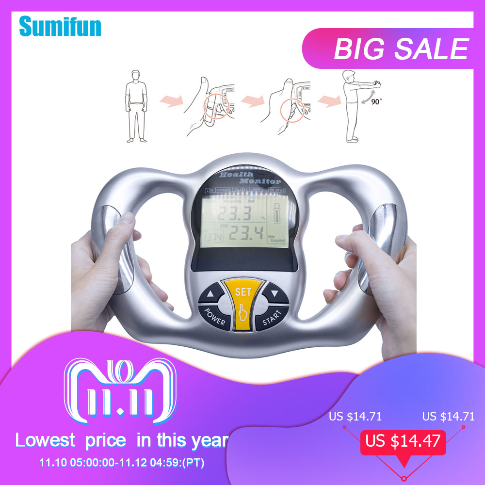 Body Health Monitor Digital LCD Fat Analyzer BMI Meter Weight Loss Tester Calorie Calculator Measurement Tools C1418 bodecoder digital fitness express bia body fat monitor fat analyzer body health white home using analysis report