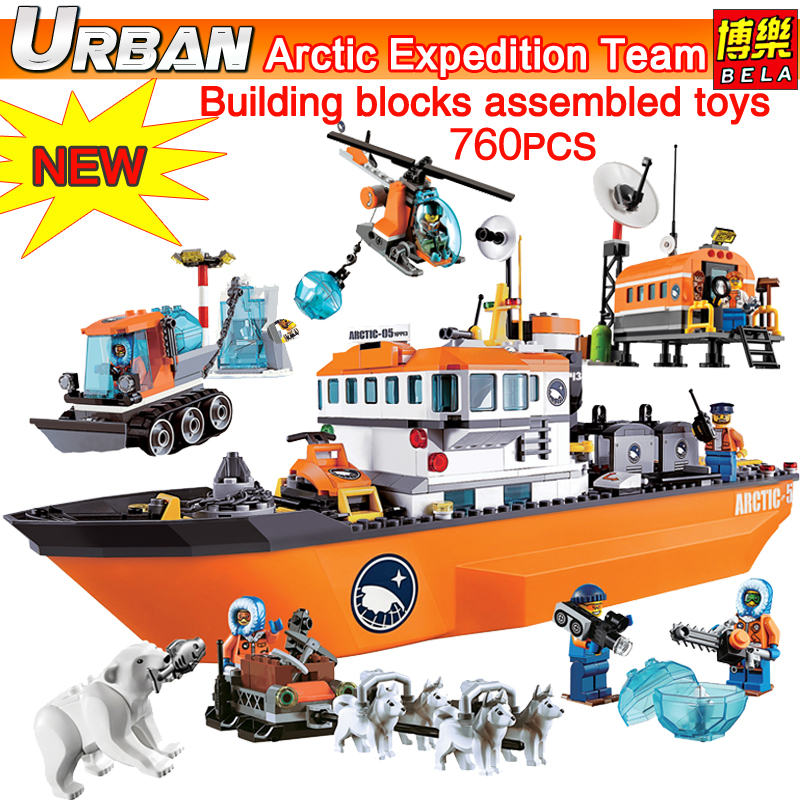 Bela 10443 urban city police series 60062 Arctic icebreaker ship model building assembled toys compatible Bricks Blocks figure compatible lepin city block police dog unit 60045 building bricks bela 10419 policeman toys for children 011