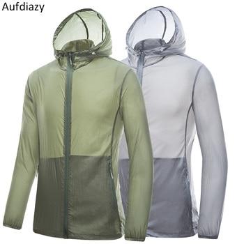 Aufdiazy Men Women Summer Waterproof Hiking Jackets UV Sun Protecect Skin Coats Outdoor Sports Breathable Skin Jackets 4XL OM058