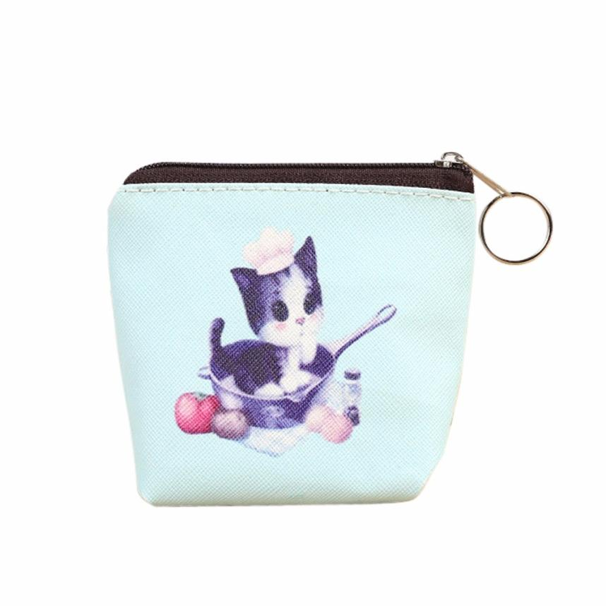 Women Girls Cute Cartoon Cat Coin Purses PU Leather Zipper Small Wallet Change Pouch Key Card Holder Clutch Handbag #Y 2017creative cute cartoon coin purse key chain for girls pu leather icecream cake popcorn kids zipper change wallet card holder