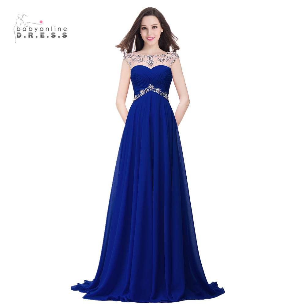 Dress elegant beads royal blue floor length chiffon prom party gown
