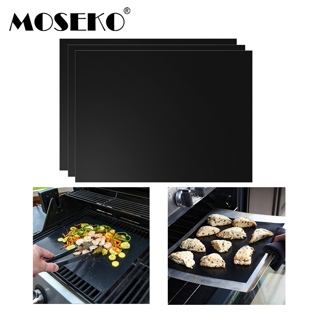 Moseko 3pcs Barbecue Grill Mat 33 40cm Non Stick Reusable