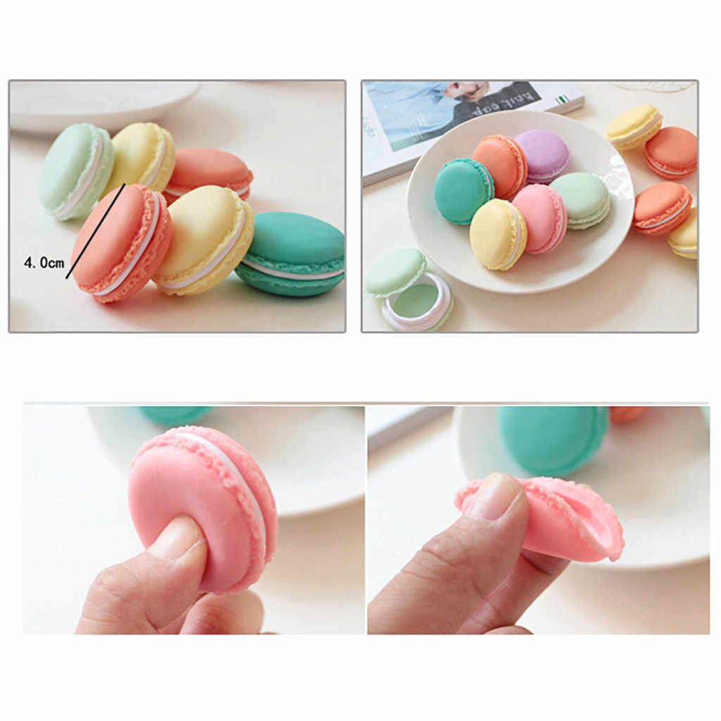 1PC Mini Macarons Organizer Storage purple green pink 4x2cm Box Earphone SD Card Case Carrying Pouch home Jewelry storage box
