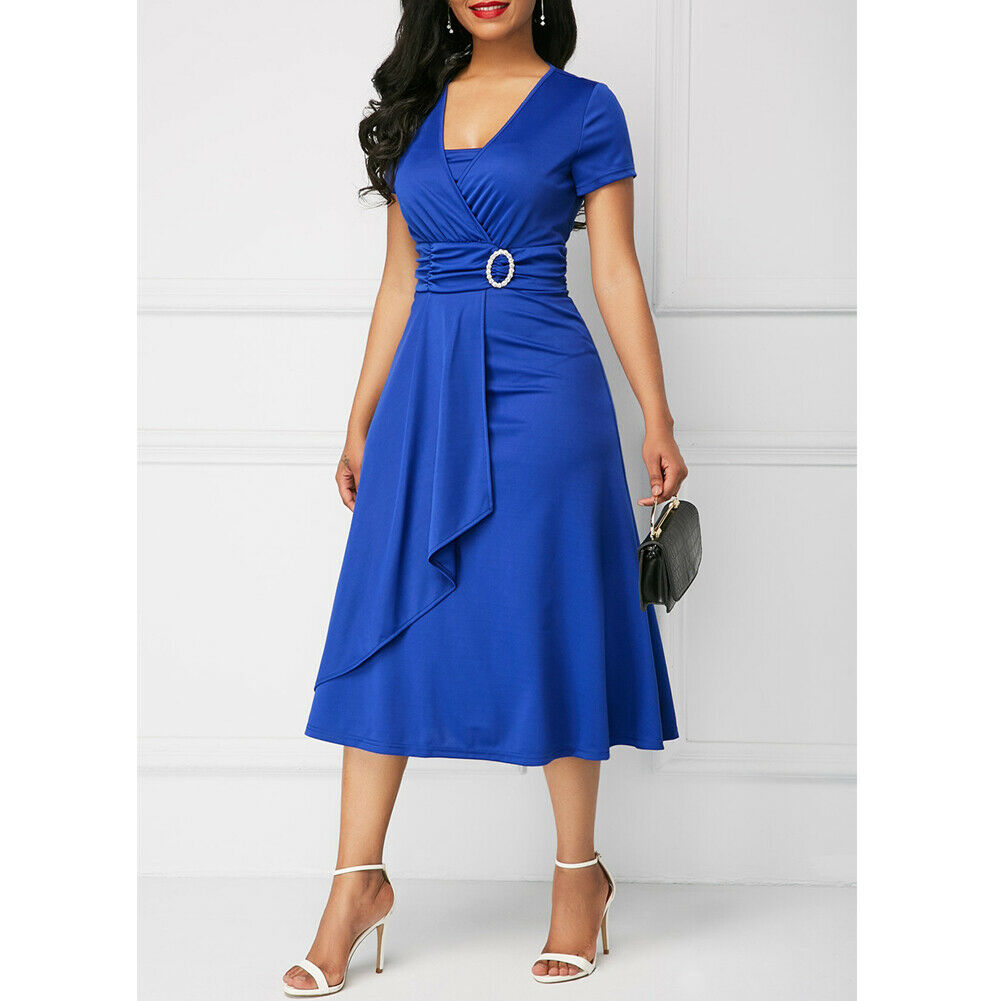 Elegant Women Dress Fashion High Waist Plain Asymmetric Midi Dress OL Casual Short Sleeve Party vestidos Dress Plus Size S-5XL 2