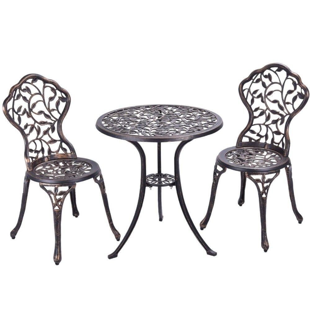 Bistro de Color negro Pack de 3 piezas de Material Aluminio Fundido Juego Mesa y Sillas Bistro Set Conjunto de Muebles bistro 1 0 1875 01