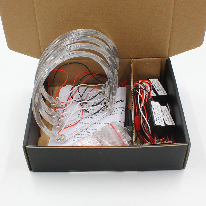 Rockeybright 3000K 6000K SMD LED Angel Eyes for BMW E46 E39 E38 E36 projector headlight white yellow E39 angel eye 4*131mm rings