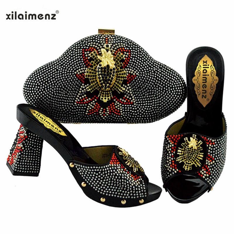2019 nowy projekt włoski modne buty z pasująca torba zestaw do ślubu Party nigerii kobiety pompy buty i torby zestaw w Buty damskie na słupku od Buty na  Grupa 1