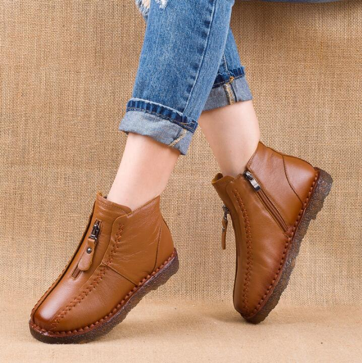2019 hot sell Winter Genuine Leather Ankle Boots Velvet Handmade Lady soft Flat shoes comfortable Casual