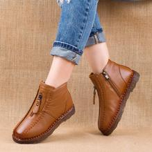 Akexiya 2017 Winter Genuine Leather Ankle Boots Velvet Handmade Lady soft Flat shoes comfortable Casual Moccasins Women's shoes