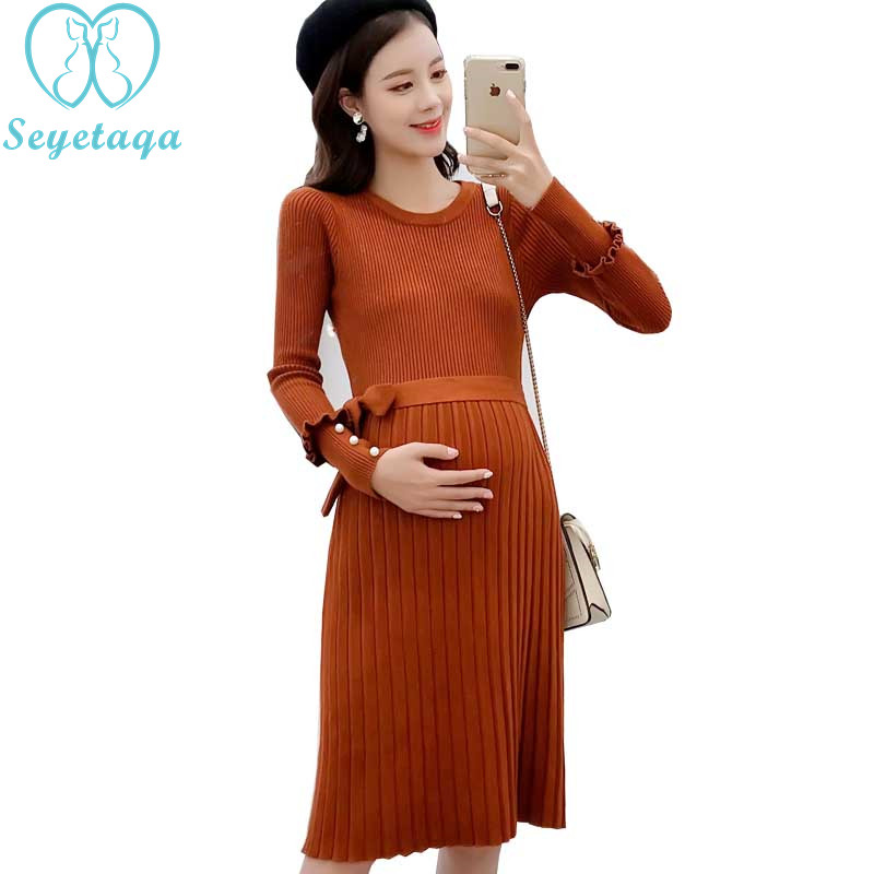 02e00be7824ae 6979# Beading Ties Waist Slim A Line Knitted Maternity Dress Autumn Winter  Korean Fashion Clothes for Pregnant Women Pregnancy | The Brand Shop