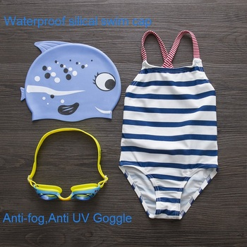 Girls Swimwear Cute Kids Swimsuit with Swimming Cap Swimming Goggle Baby Girl Bathing Suit One Pieces Swim Wear For Children