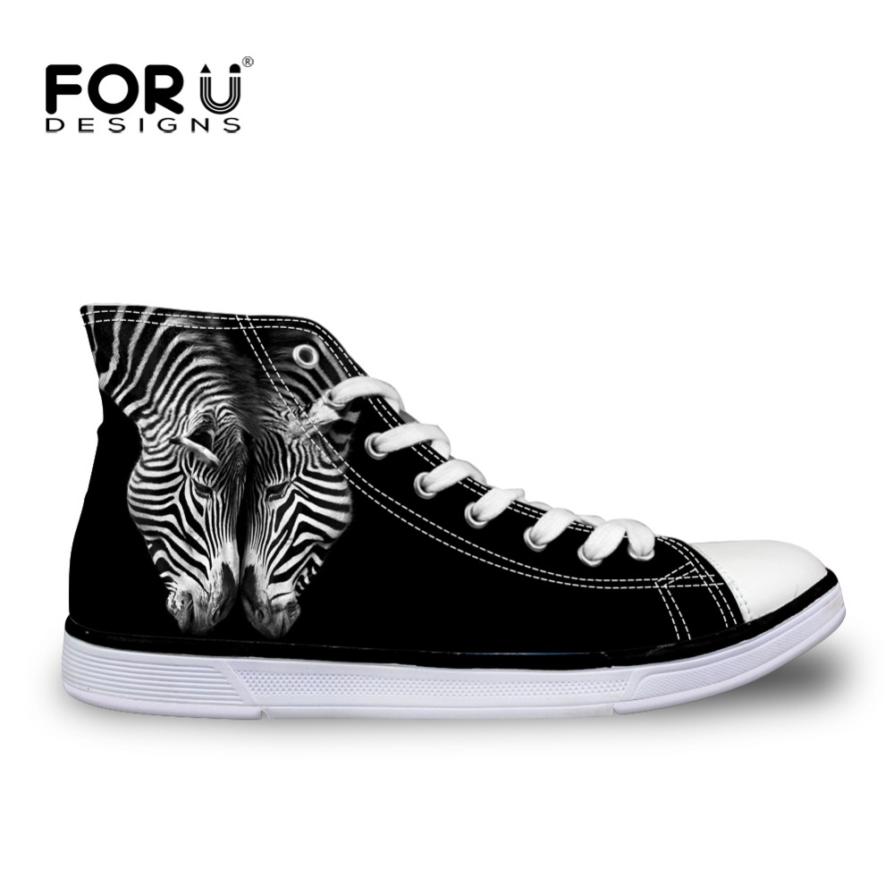 Women's Vulcanize Shoes Amicable Forudesigns Classic Black High Top Canvas Shoes Women Comfort Vulcanized Shoes Novelty Animal High-top Female Autumn Summer Shoe Rich And Magnificent