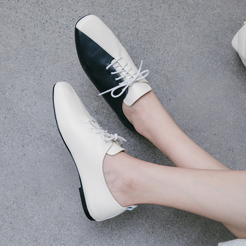 Xiuningyan Genuine Leather Women Flats Lace Up Square Toe Soft Leather Footwear Spring Fashion Casual Ladies