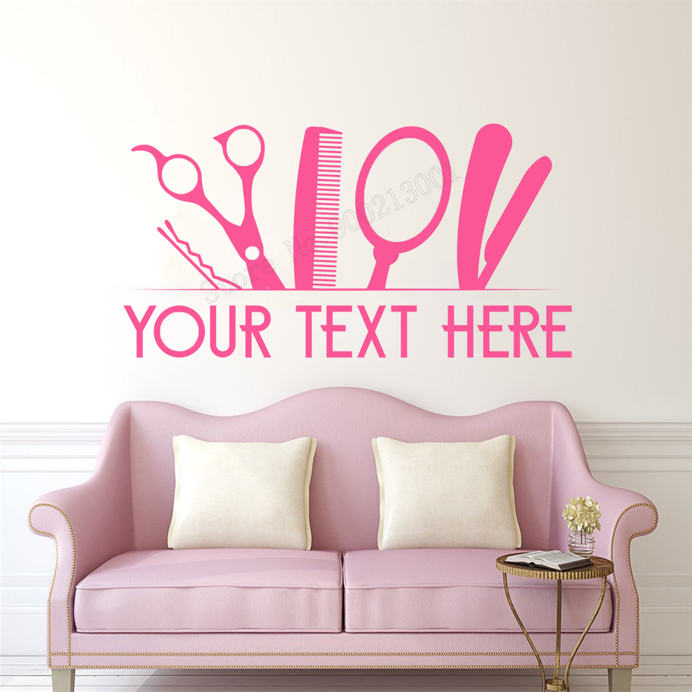 9c3b13b9d6d Art Home Sticker Hair Shop Salon Wall Sticker Room Decoration Beauty Colors  Decor Removeable Poster Mural Diy By Yourself LY33 -in Wall Stickers from  Home ...