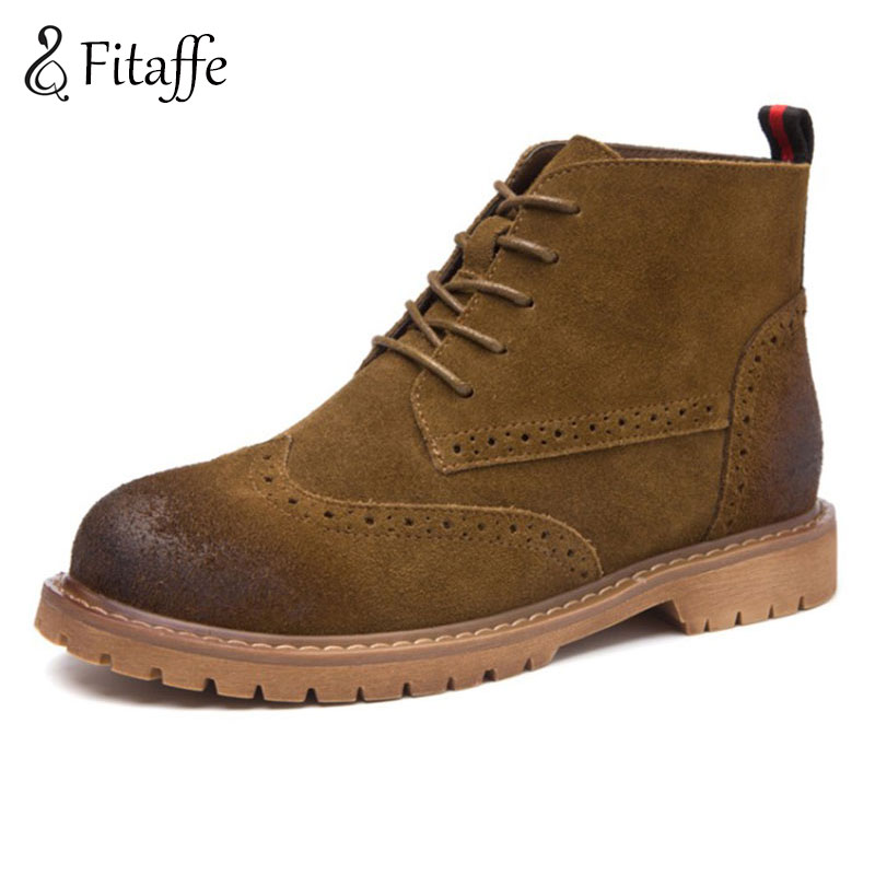 Fitaffe Autumn Winter Ankle Boots For Woman Round toe Genuine Leather Boots Retro Martin boots Lace-up Platform Botas GD026 e toy word bullock ankle boots for women autumn increase lace up martin boots british retro boots winter high help botas mujer